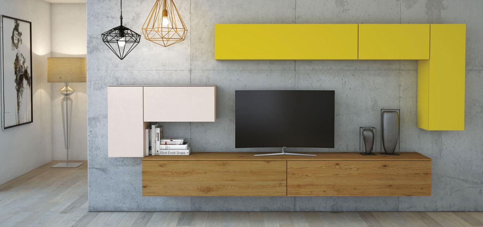 Soggiorni moderni: Soggiorno a parete moderno tetris